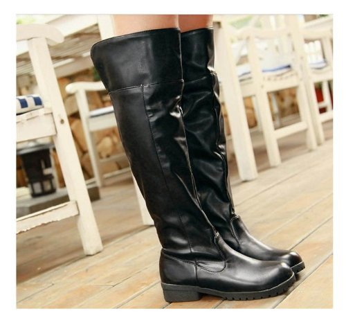 [10 size Yes all two colors] cosplay Attack on Titan Scouting Legion long boots shoes of my [black / black] [23cm / 36 / bk] (japan import)