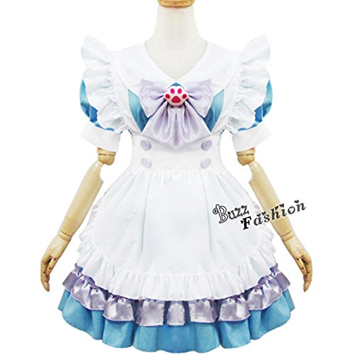 Alice Blue/Pink Colors Two Size Maid Outfit Party Anime Cosplay Costume Dress