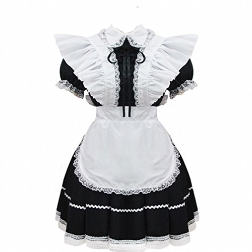 Black And White Maid Costume Anime Wig Cosplay Costume Flouncing