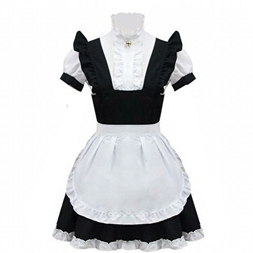 Black And White Maid Costume Anime Wig Cosplay Costume Lolita Bell