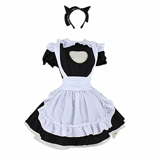 Black And White Maid Costume Anime Wig Cosplay Costume Lolita Cat Girl