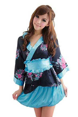 Cute! Set of 2 pink / black kimono / yukata dress cosplay costume shiny floral (japan import)