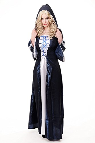 DRESS ME UP – Kostüm Damenkostüm dunkelblaues langes Kleid Haube Mittelalter Elfe Fee Magierin Märchen Cosplay L080