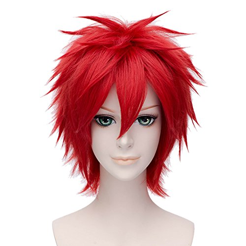 Boy's Style Cosplay Wig Short Anime Hair +Wig Cap Red