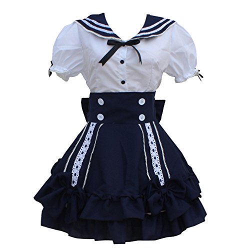 Lady Girl Navy Blue French Maid Outfit Dress Stylish Style Anime Cosplay Costume