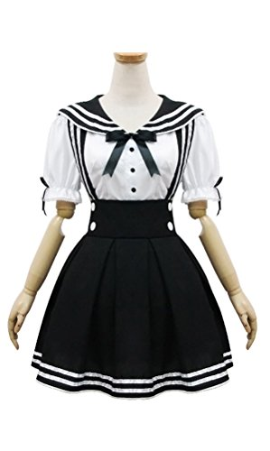 Lolita Black and White Schoolgirl Maid Outfit Sailor Bowknot Fashion Cosplay