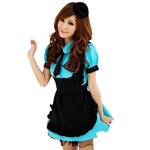 French Maid Dress Cosplay Costume Blue/Pink Mixed Black Party Style