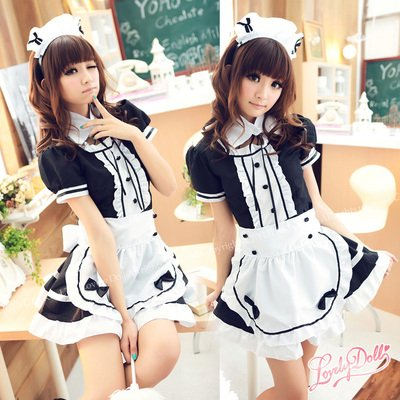 [Maid cosplay costume] M classic design! Elegant maid costume cosplay set of 4 black Black (japan import)