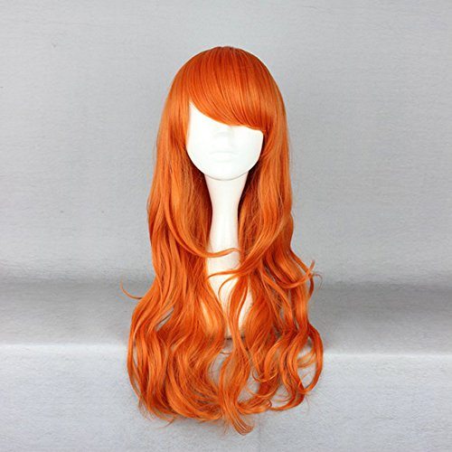 One Piece NaMi Curly Style Orange Women Lady Anime Synthetic Cosplay Hair Wig+Wig Cap
