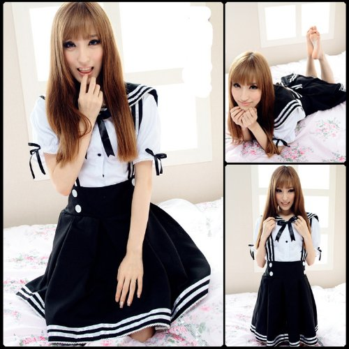 Pretty Lolita Maid Cosplay Kostüme Sailor School Uniform Schulmädchen Uniform Cosplay Halloween Party Kleider,Schwarz,M