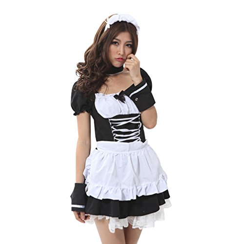 Sexy French Maid Short Sleeves Skirt Black White Mix Party Stage Costume Cosplay