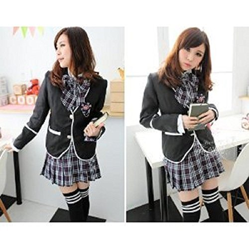 [Sherry-Chris] orthodox schwarzen Blazer navy blue Check Rock Uniformen AKB-style Dessous cosplay [großen] [klein] (S)