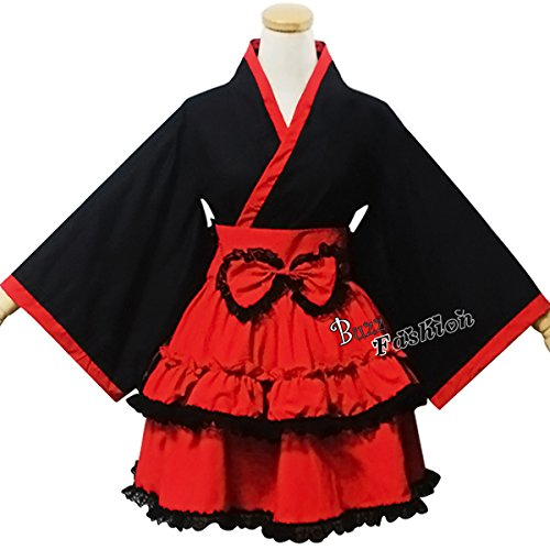 Sweet Ladies Women Black Mixed Red Bowknot Lolita Cosplay Costume Maid Outfit