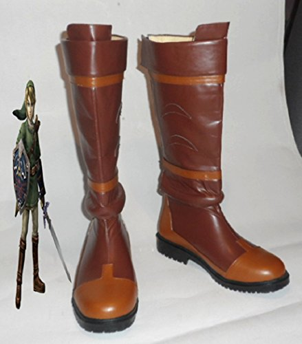 The Legend Of Zelda Link Anime Braun Cosplay Kostuem Stiefel Boot Schuhe Schuh