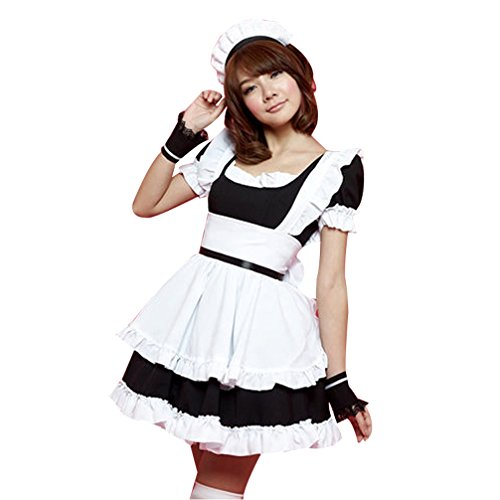 French Maid Black/Pink Mixed White Girl  Design Dress Party Lolita Costume