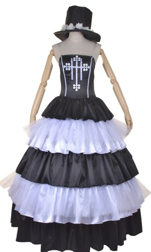 Anime Wig One Piece Perona N. 2 Jahren Satin Gauze Gothic Dress Cosplay Costume