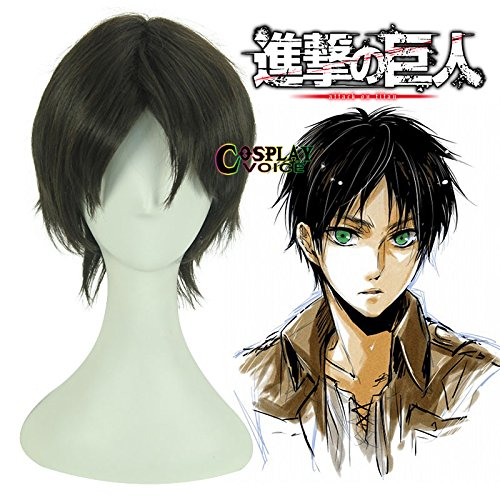 Attack on Titan Eren Jaeger Dark Brown Short 30cm Synthetic Anime Cosplay Wig