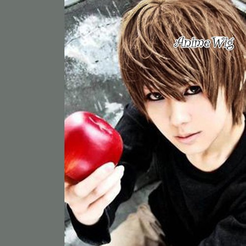 Brown Short Straight Light Yagami Layered Synthetic Unisex Anime Cosplay Wig+Cap