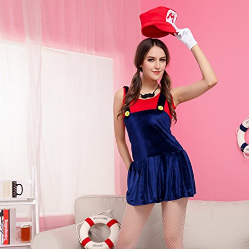 Mario and Luigi Super Mario Green/Red Mixed Blue Game Lady Anime Cosplay Costume