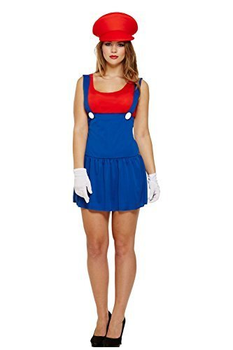 by UNKNOWN Women's Ladies Super Workwoman Girl Mario Luigi Cosplay Fancy Dress Costume