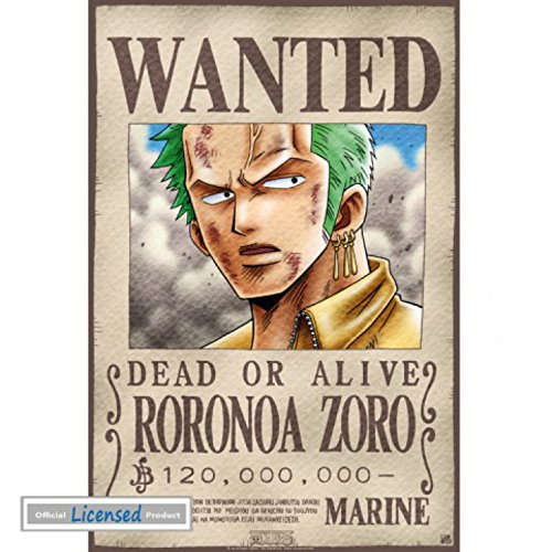 1art1 74247 One Piece – Wanted Roronoa Zoro Mini-Poster 52 x 35 cm