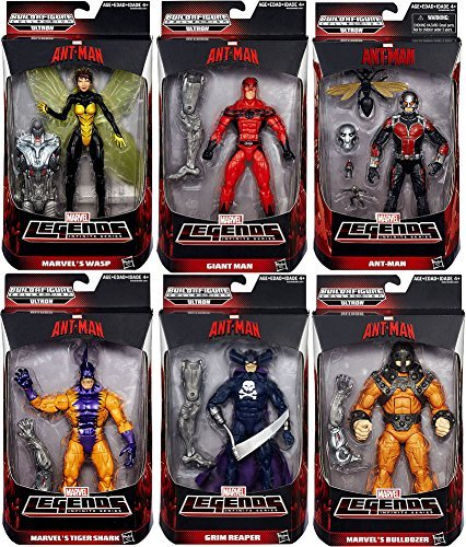 Ant-man Marvel Legends Giant Man, Grim Reaper, Wasp, Bulldozer, Ant Man, Tigershark Action Figures Wave 1 Set of 6 by Antman