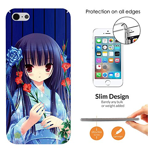 000375 – Japanese Cartoon Art Manga Girl Anime Design iphone SE 2016 / iphone 5 5S Fashion Trend Leichtgewicht Hülle Ultra Slim 0.3MM Kunststoff Kanten und Rückseite Protection Hülle – Clear