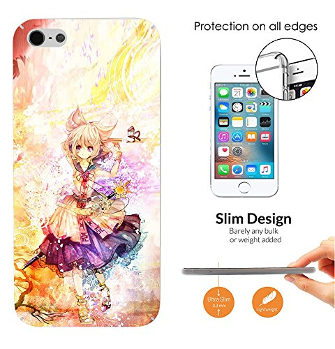002549 – Sexy Cool Manga Girl Fun k Design iphone SE 2016 / iphone 5 5S Fashion Trend Leichtgewicht Hülle Ultra Slim 0.3MM Kunststoff Kanten und Rückseite Protection Hülle – Clear