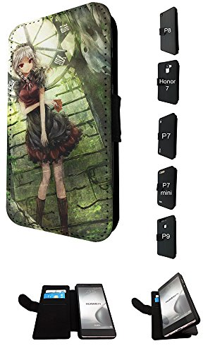 002588 – Sexy Manga Girl Clock Design Huawei P8 Lite Fashion Trend TPU Leder Brieftasche Hülle Flip Cover Book Wallet Credit Card Kartenhalter Case