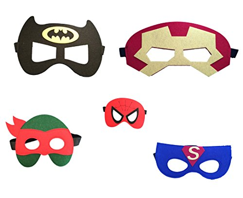 Augenmaske Maske Filzmaske für Augen – Auswahl von Superhelden Designs -Spiderman, Batman, Ninja Turtles, Captain America, Ironman, Kostüm Verkleidung