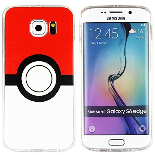 BRILA® Galaxy S6 edge pokemon Hülle, poke ball style Hülle für S6 edge, Galaxy S6 edge pokemon go Hülle