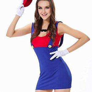 Neue-Damen-6-Stck-rot-blau-Super-Mario-Kostm-Fancy-Dress-Hen-Night-Halloween-Club-Wear-Gre-M-10-12-0
